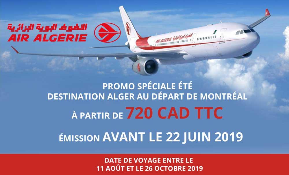 Promotion Air Algérie : Billet aller-retour à partir de 720$